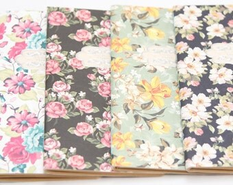 Set of 4 floral mini notebooks with kraft paper pages | vintage garden series