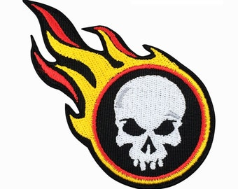 Fire Skull Patch Embroidered Punk Iron On Sew On Patches