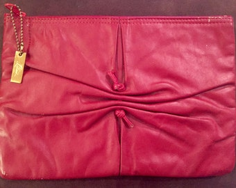 Vintage 1970s Letisse Clutch Bag Cinched Front Evening Bag Accessories Red Leather Purse