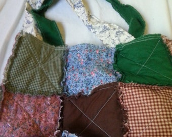 Scrappy Mismatched Medium Rag Quilt Tote