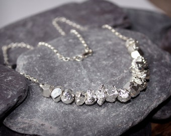 Necklace, Organic Bead Silver Nugget, Necklace in Sterling Silver, Boho Necklace, UK Shop 925 Necklace, Silver pyrite beads Necklace