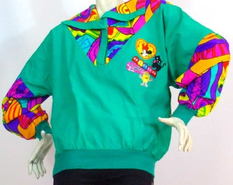 Sweat green / multicolored patches with size 38 Enel Brand