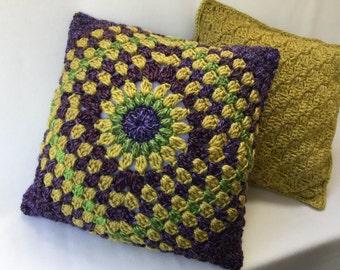"""crochet pillow, crochet cushion,throw pillow, purple bed pillow, decorative pillow, 18""""  pillow, insert included"""