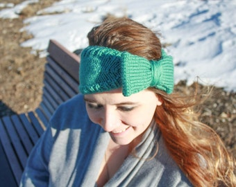 Tapered knit headband, earwarmer with bow