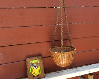 Hanging wicker planter/ flower pot