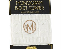 Mudpie Brand boot topper- monogram boot topper- initial boot topper- monogram boot sock- fake boot sock-white and gold monogram-personalized