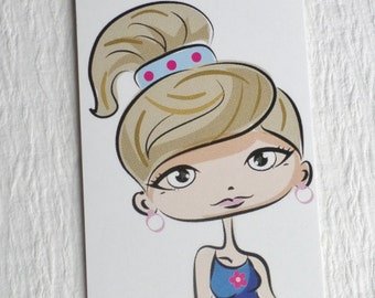 100 FASHION CLOTHING/ACCESSORIES Boutique Tags Cute Girl In Blue  with  Plastic Loop Pins at Etsy