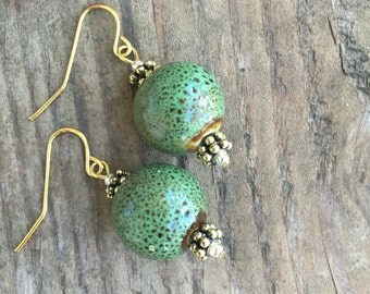 Green and Brown Ceramic and Gold-Tone Accented Dangle Earrings