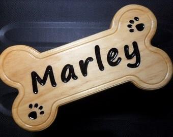 """Custom / Personalized Gift Dog Bone Sign - Finished Pine Wood 4 1/2"""" x 8 1/2"""" x 3/4"""""""