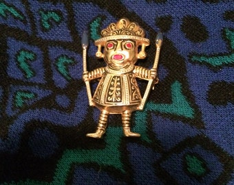Vintage tribal man brooch