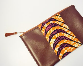 Orange and Brown Clutch // Faux Leather and African Print Clutch Purse // Wax Print and Vegan Leather Clutch
