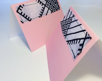 Pink, Black & White Card with Envelope // Graphic Print Blank Cards // Pale Pink Wax Print Greeting Cards