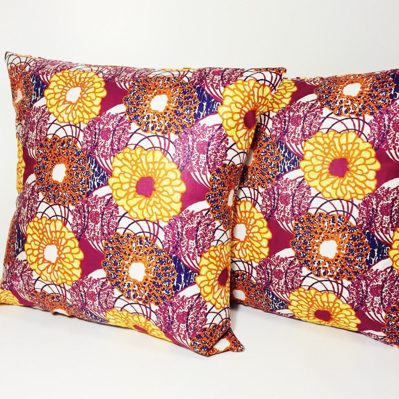 Floral Print Throw Pillow Cover // Wax Print Decorative Pillow