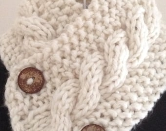 Scarf cowl neck warmer with buttons