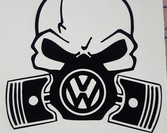VW skull gas mask vinyl window sticker