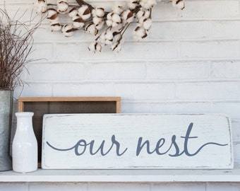 "Our nest sign | rustic wood sign | rustic wall decor | wood sign | 24""x 7.25"""