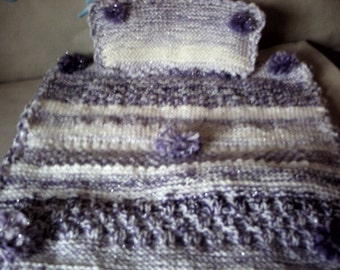 Dolls pram set hand knitted in glitter yarn