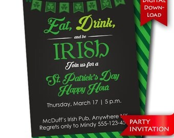 St. Patrick's Day Party Invitation {digital download}