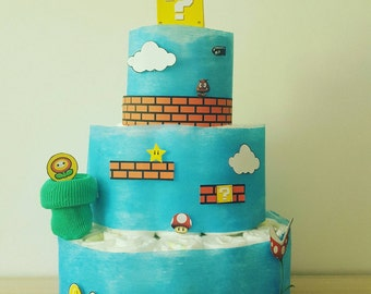 "Beautiful layer cake ""Super Mario""for boy"