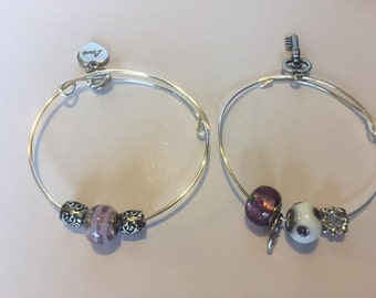 Purple Passion adjustable bangle bracelet set