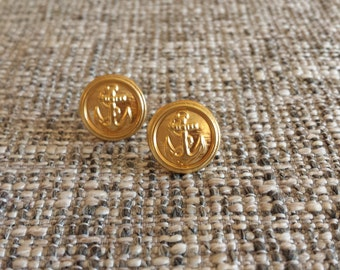 ANCHOR - Post earrings, Vintage Military buttons, Anchor