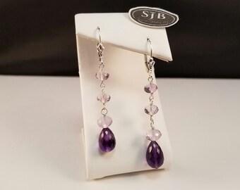Amethyst Briolette Dangle Earrings, Sterling Silver, Leverback, #E1002