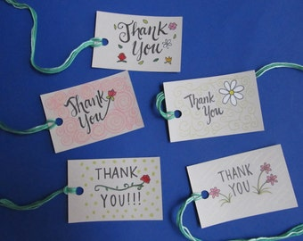 """Flower Gift Tags Set-""""Thank You!"""" [Set of 5]"""