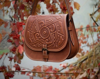 """Leather Handbag """"March Of Time"""" 