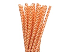 Paper Straws, Orange and White Chevron Paper Straws, Construction Party Supplies, Halloween Party Decor, Summer Pool Party Supplies, Straws