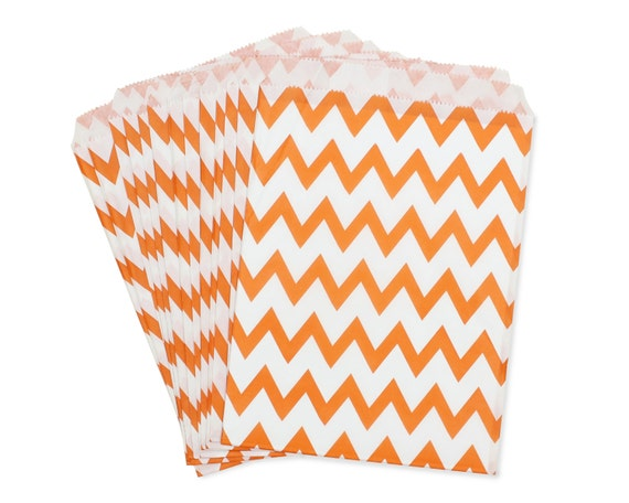Party Favor Bag, Paper Favor Bags, Orange Chevron Favor Bags, 1st Birthday Party Favors, Construction Party Decor, Summer Pool Party Favors
