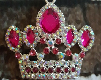 Pink crown rhinestone necklace pendant Crown bubblegum necklace chunky necklace