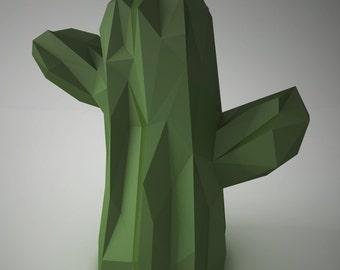 DIY PAPER SCULPTURES  - Cactus Shape Template