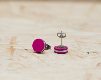 Pink / white paper studs - stainless steel - two sizes