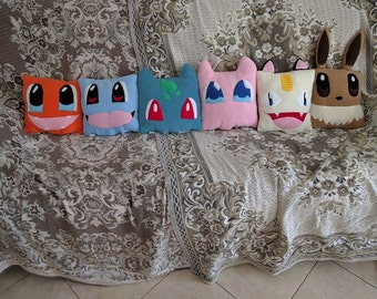 Pokemon  GO Inspired Pikachu,Charmander,Squirtle,Bulbasaur,Mew,Meowth,Eevee,jigglypuff,Snorlax,Jolteon,Flareon Fleece  Pillow,Hand Made