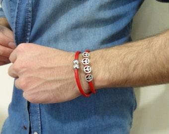 EXPRESS SHIPPING,Red Wrap Leather Bracelet,Peace Symbol Bracelet,Unisex Jewelry,Magnet Clasp Bracelet,Gift for Girlfriend,Gift for Boyfriend