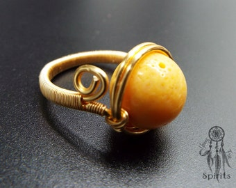 Yellow Coral Ring/Sterling Silver/Gold/Genuine Coral Ring/Gift Ideas for Her/Handmade Jewellery/Raw Nature Gemstones/Boho/Bohemian/Hippie/