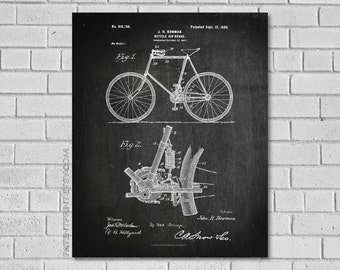 Bicycle air brake Patent Print - Bicycle Patent - Bicycle Art - Bicycle Wall Art - Bicycle Decor - Bicycle Poster - Bicycle Print SB796
