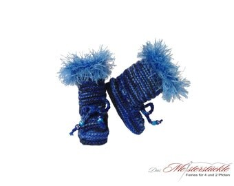 Knitted baby booties baby boots blue melange