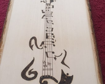 Woodburned Bass Guitar