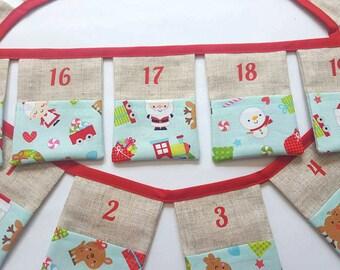 Christmas Advent Calendar Bunting~Children's Pocket Advent Calendar~Christmas Banner~Christmas Decoration