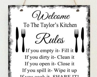 Personalised Family Kitchen Rules Love New Home Sign Shabby Present Chic  Cooking Mum Nanny Birthday Gift
