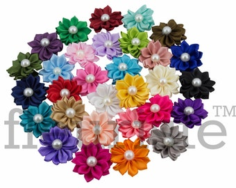 Choose Colors 5 Ribbon Flower With Pearl, Satin flower, Fabric rose, Rolled Rosette, Wholesale Flower, Fabric Flower, Satin Flower, 3pc
