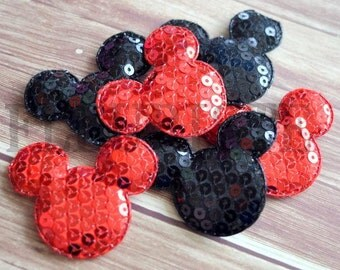 XL Mouse Head Padded Sequin Appliques , Mouse Head Resins, Wholesale Resins, Padded Resins, Padded Appliques , Black Red