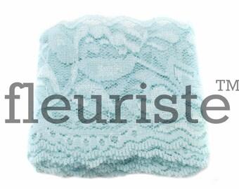 Elastic Lace, Lace Ribbon, Stretch Lace, Elastic Lace Trim, Lace by the yard, Lace Trim, Stretchy Lace, Lace Elastic, 2.25 inch, Light Blue