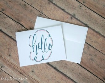 hand lettered coral and navy hello foldable digital download foldable notecard with envelope template