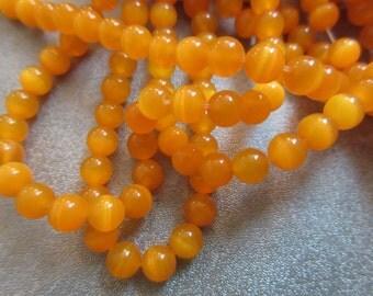 Light Orange Cat's Eye Round 6mm Beads 68pcs