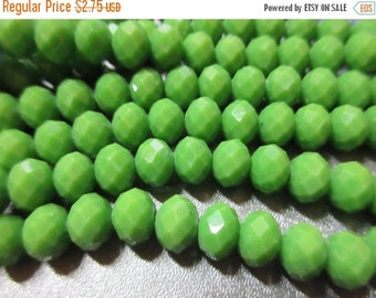 ON SALE Chinese Crystal Beads 8mm Faceted Roundell 71pcs Basil Green