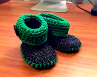 Green and Black Crocheted Baby Booties For 6-9 month old