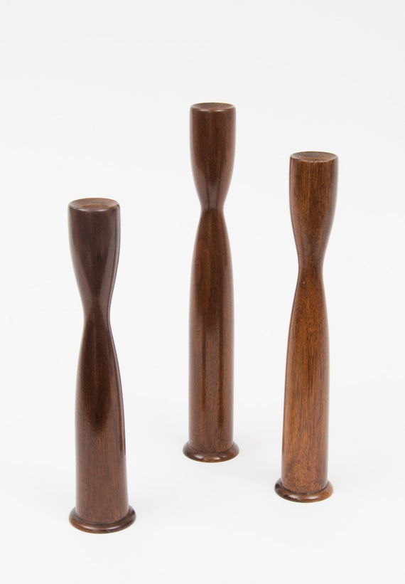 Set of 3 Mid-Century wood Candle Holders