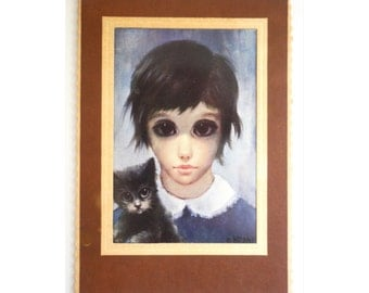 Original Big Eye Postcard Walter Margaret Keane Girl and Her Cat